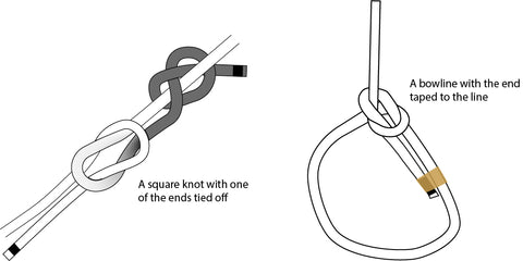 A square knot with the end simply tied off, and a bowline with the end taped