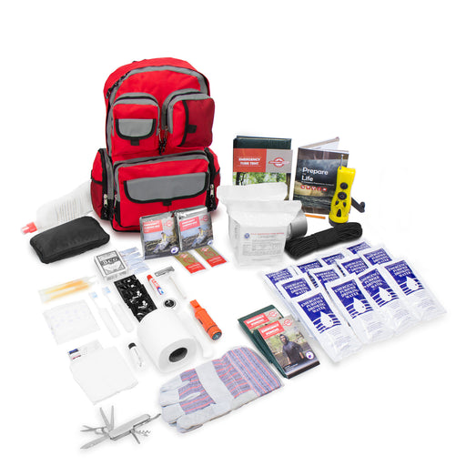 Deluxe 2 Person Urban Survival Kit - Red Backpack