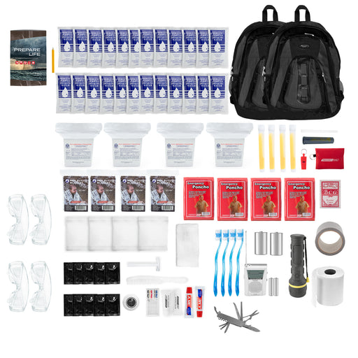 The Essentials Complete 72-Hour Kit - 4 Person: Black or Red Backpack - Emergency Zone