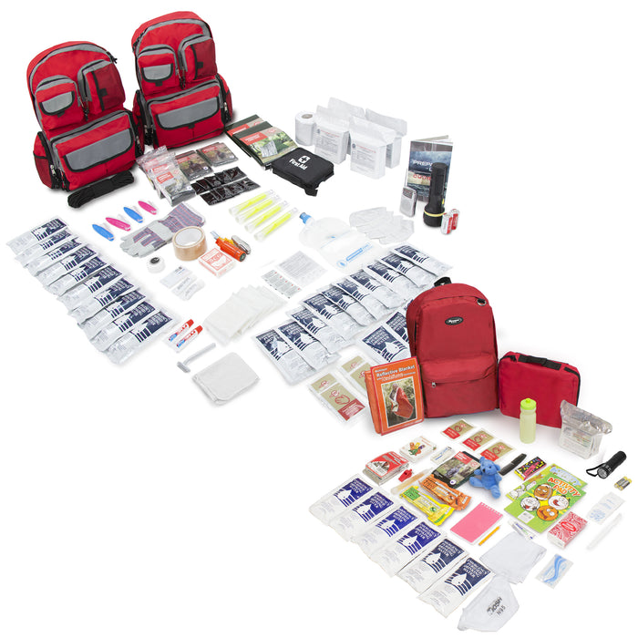 Bundle & Save! 4 Person Family Prep 72 Hour with Children's Deluxe 72 Hour Kit