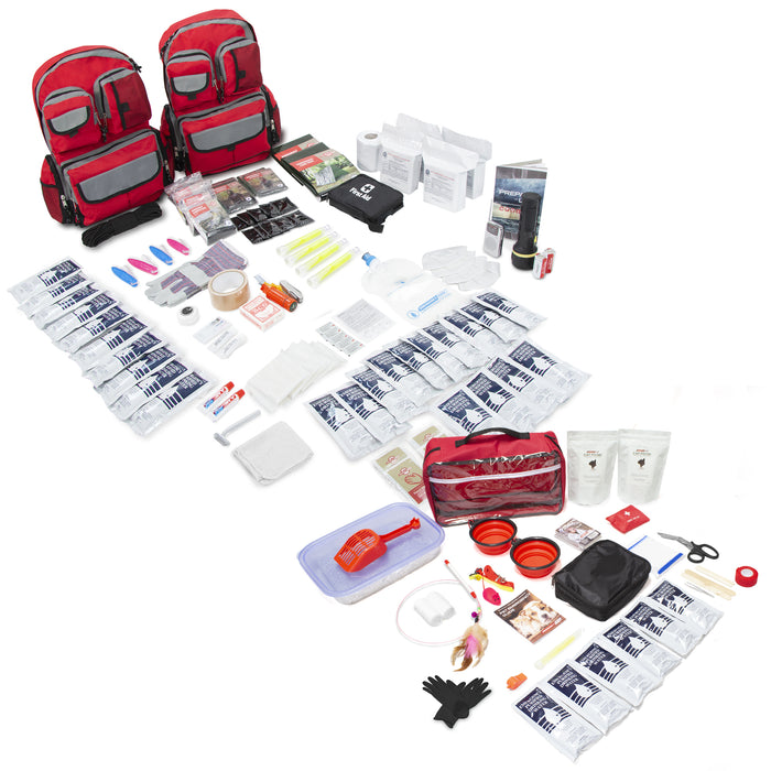 Bundle & Save! 4 Person Family Prep Survival 72 Hour Kit with Basic Cat Emergency Kit