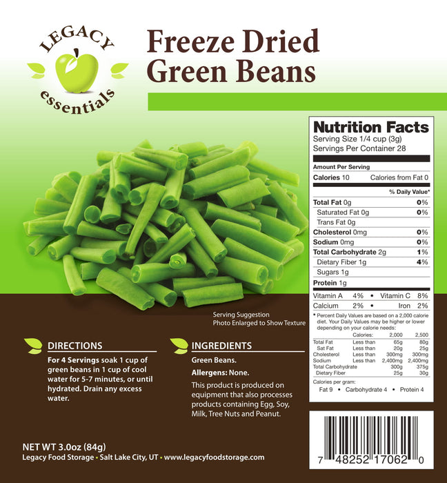Legacy Freeze Dried and Dehydrated Vegetables