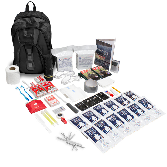 The Essentials Complete 72-Hour Kit - 2 Person: Black or Red Backpack - Emergency Zone