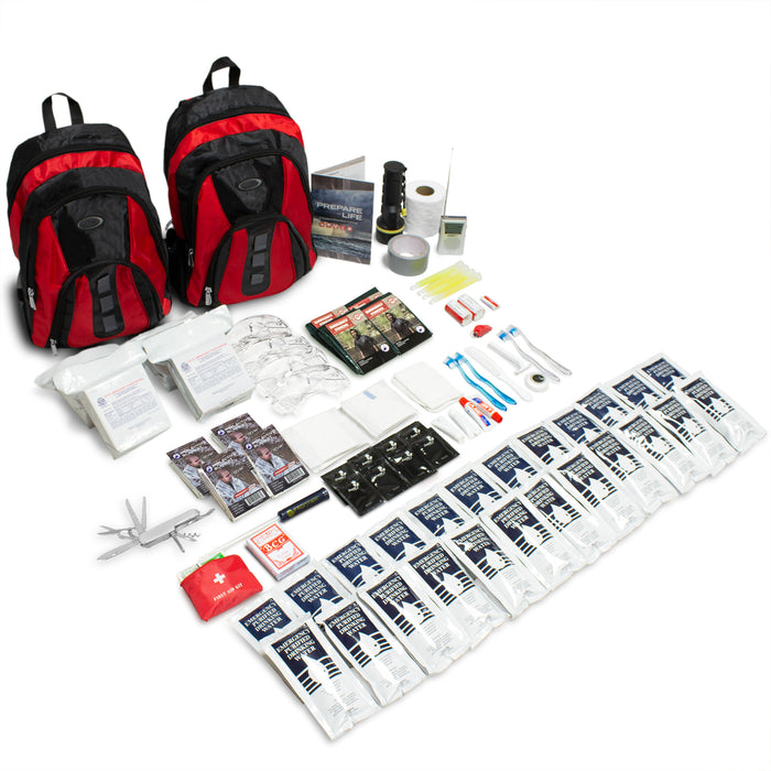The Essentials Complete 72-Hour Kit - 4 Person: Black or Red Backpack