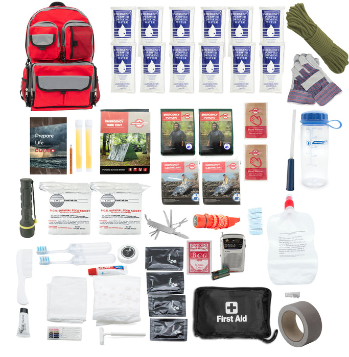 Family Prep Survival Kit with Water Purification Straw Filter - 2 Person