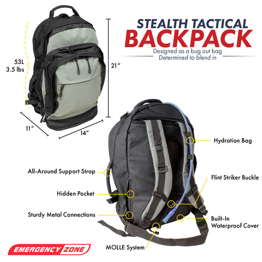 Stealth Tactical Bug-Out Bag - 2 Person - Emergency Zone