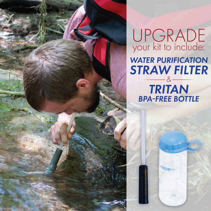 Urban Survival Bug-Out Bag with Water Purification Straw Filter - 2 Person