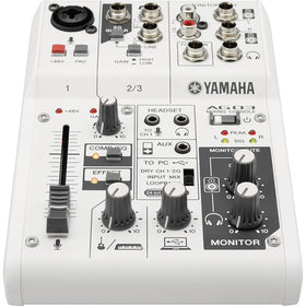 The Yamaha AG03 Podcast mixer Front View