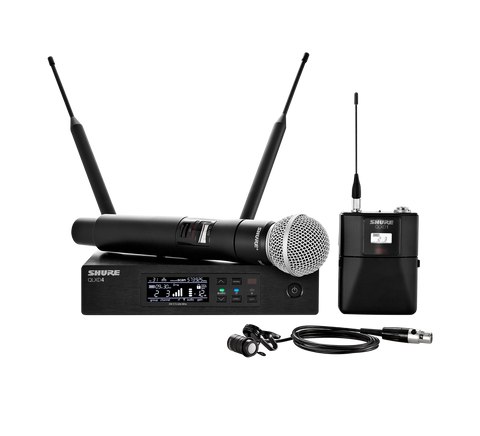 Shure Qlxd124/85 Wirelessbodypack And Vocal Combo System With Wl185 Sm58 Wireless Systems