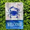Blue Crab on Boards - Welcome Aluminum Sign