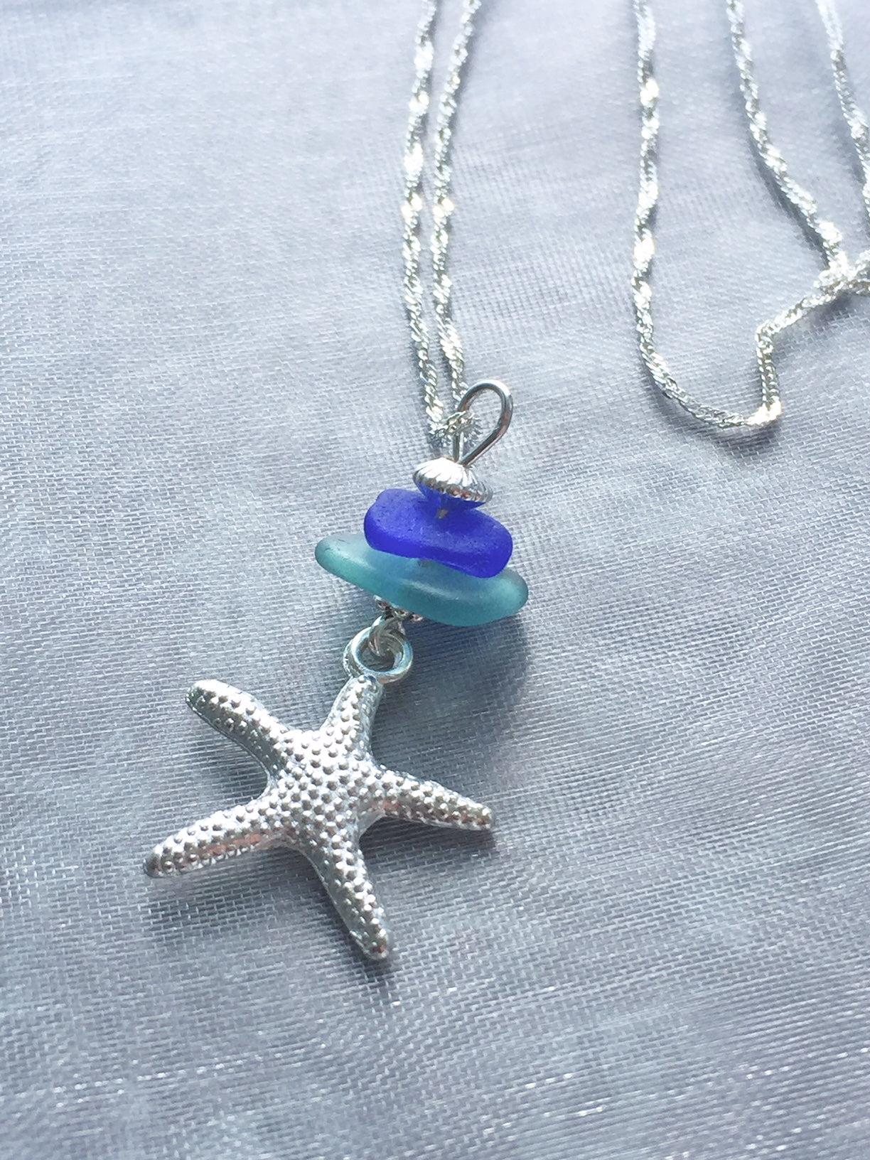 Sea Glass Stack with Starfish Necklace