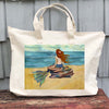 Mermaid on Rocks Zipper Tote