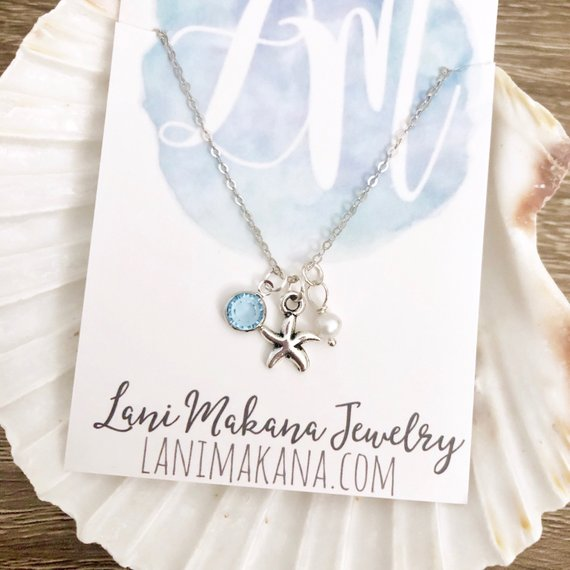 Starfish Birthstone Charm Necklace