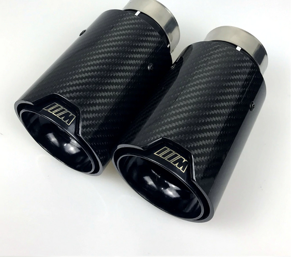 BMW M Style Carbon Exhaust Tips PAIR [Silver M/ Black] - Omega Tuning