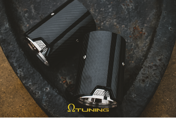 BMW M Style Carbon Exhaust Tips PAIR [Silver] - Omega Tuning