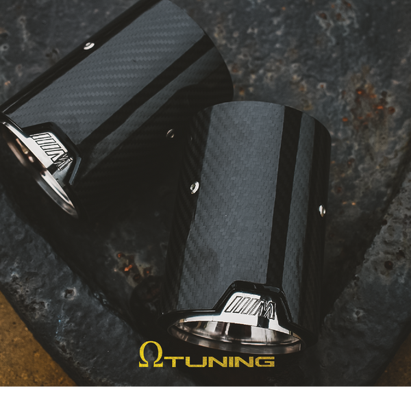 BMW M Style Carbon Exhaust Tips PAIR [Silver] – Omega Tuning