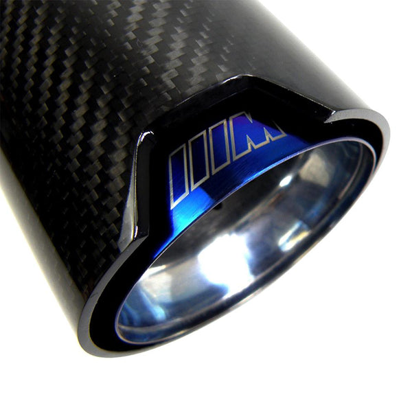 BMW M Style Carbon Exhaust Tips PAIR [COSMO BLUE] - Omega Tuning