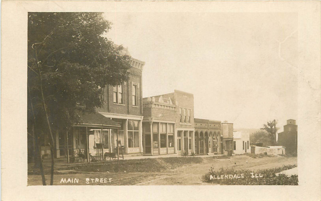 Allendale Illinois - IL - Main Street - 1910 - Real Photograph Postcard
