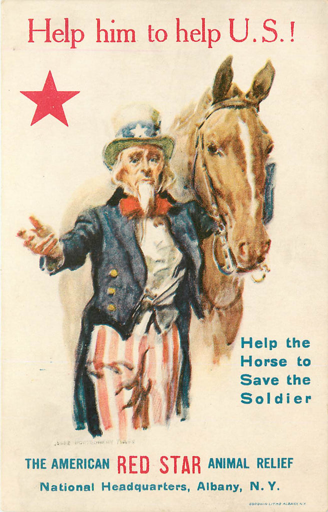 Animal Relief - Uncle Sam - Horse - James Montgomery Flagg - WWI