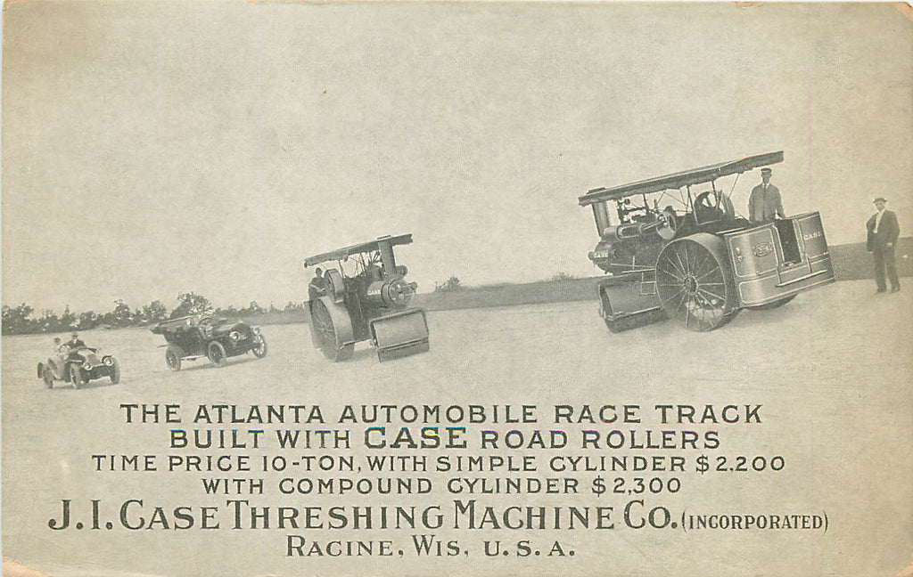 Atlanta Automobile Race Track Speedway - Case Machine Road Roller Adv - GA