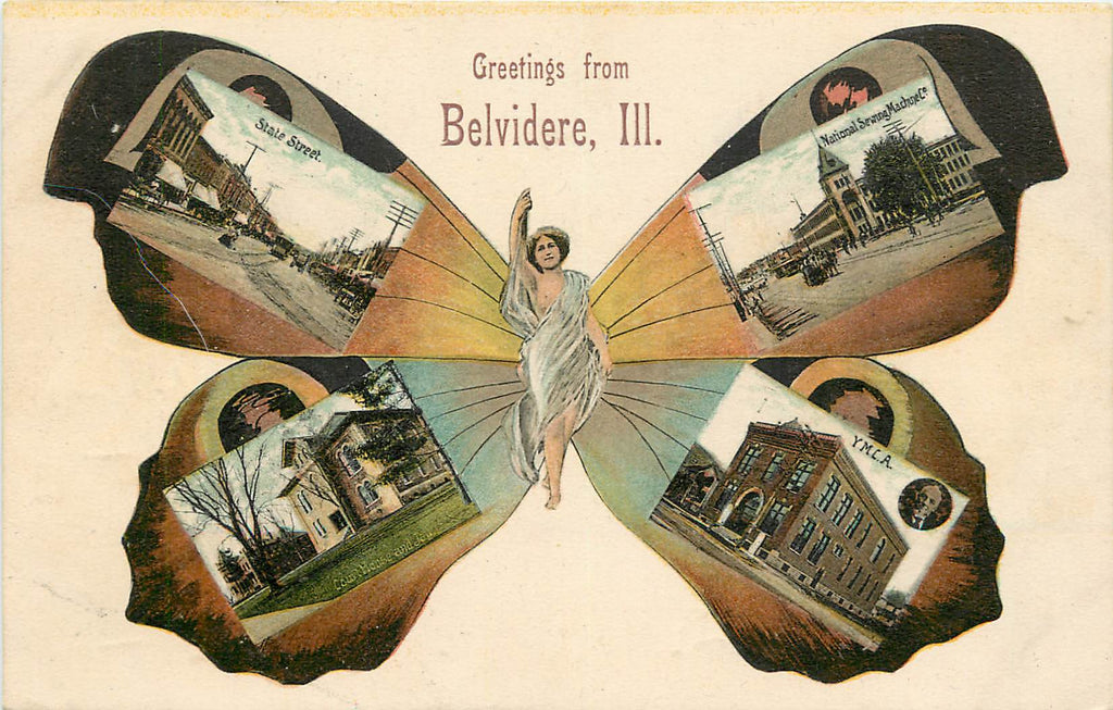 Belvidere Illinois - IL - Butterfly Girl - Multi View Postcard -1908