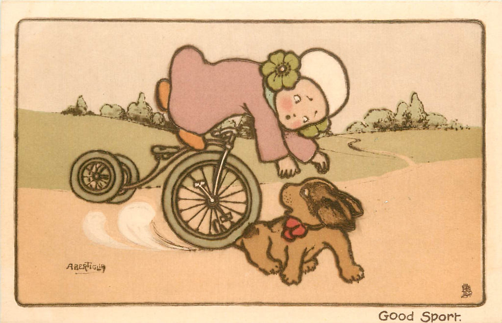 "Bertiglia - Artist Signed Postcard - Child -Tricycle - Dog - ""Good Sport"""