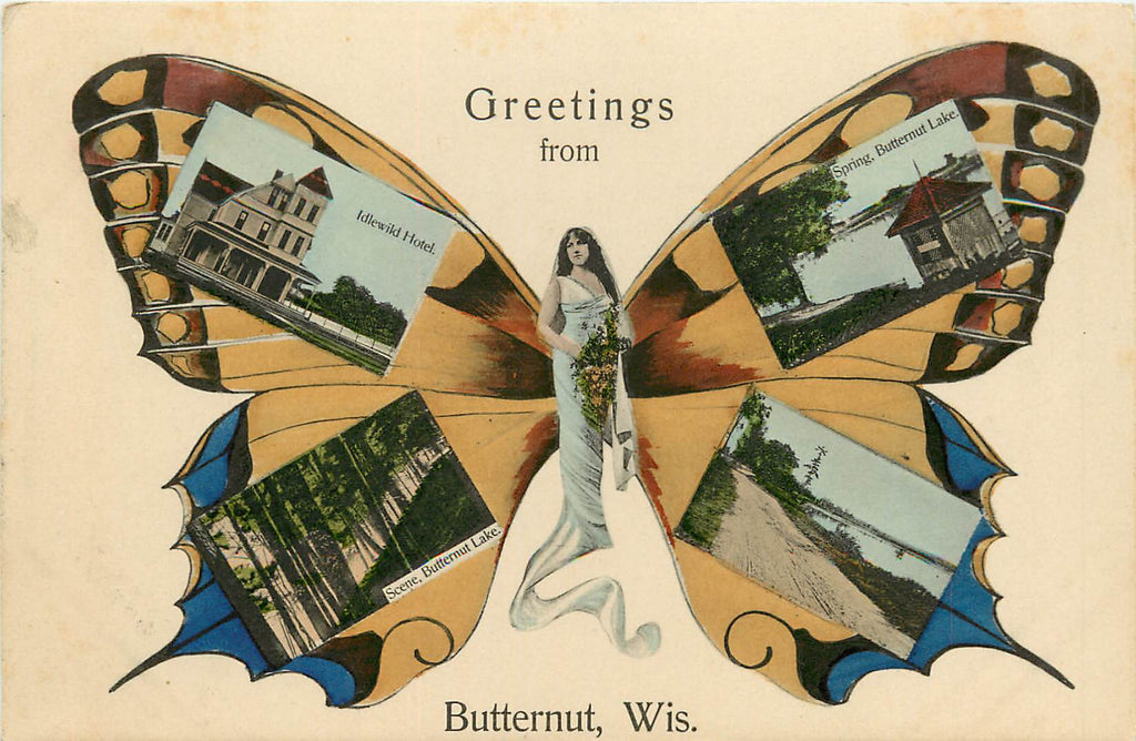 Butternut - Wisconsin - WI - Butterfly Girl - Multi-view Postcard