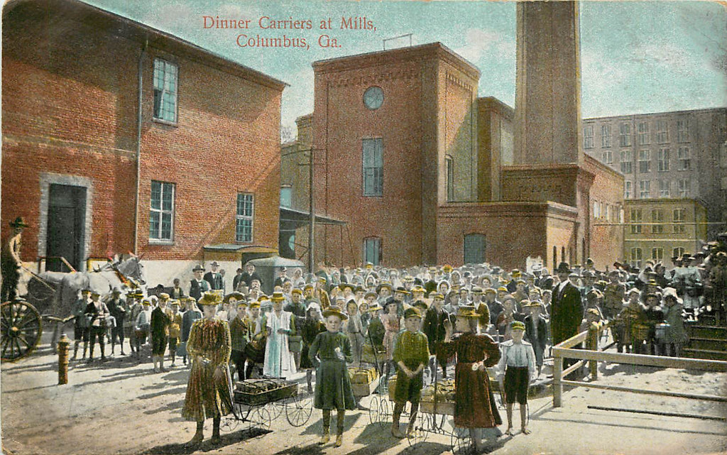 Columbus Georgia - Dinner Carriers - Mill - Original Postcard 1908