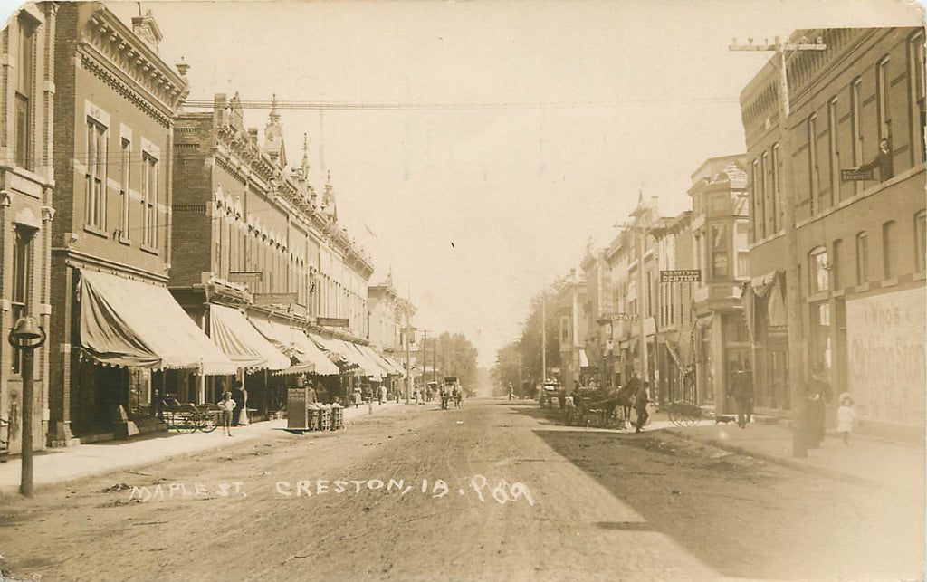 Creston - Iowa - IA - Maple Street - 1909 Real Photograph - Osteopathy