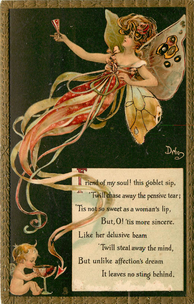 Dwig - Tuck - Toasts - BUTTERFLY WOMAN -  Dwiggins - Artist Signed
