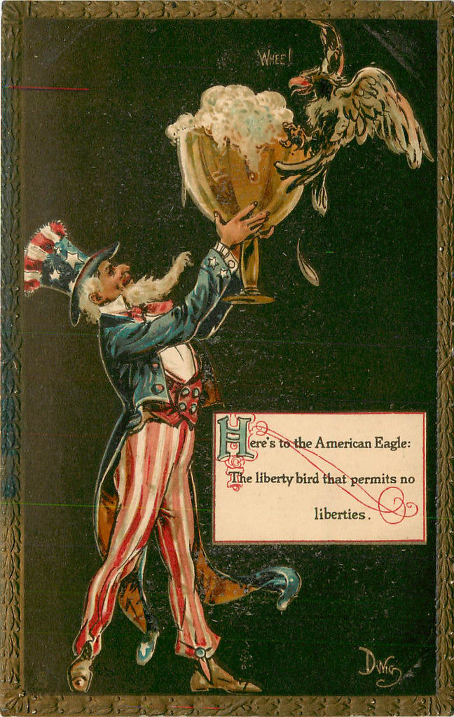 Dwig - Tuck Toasts - Uncle Sam - American Eagle - Dwiggens - Artist Signed