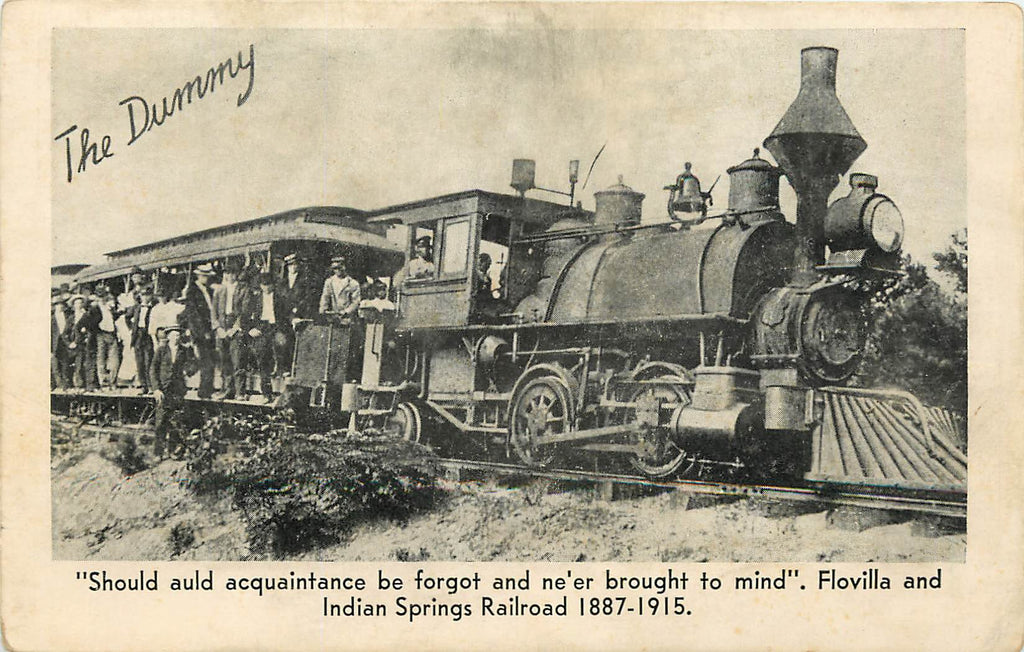 Flovilla & Indian Springs Railroad - The Dummy- Train Engine - Jackson Georgia - Postcard