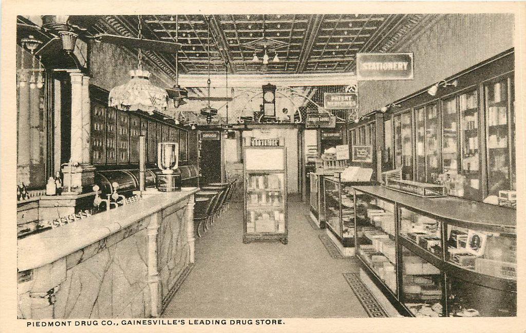 Gainesville Georgia - Piedmont Drug Co - Rexall - Interior - Original Postcard