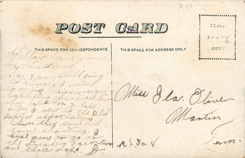 Greenfield Tennessee - Front Street - North - Original Postcard - Pittman Furniture