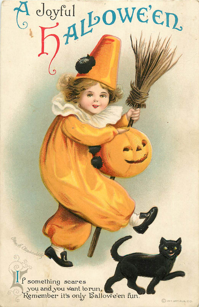 Halloween - JOL - Black Cat - Artist Signed Clapsaddle - Original Postcard