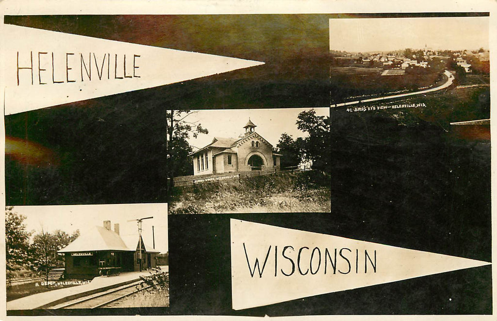 Helenville - Wisconsin - Multi View Real Photograph - RR Depot - School House