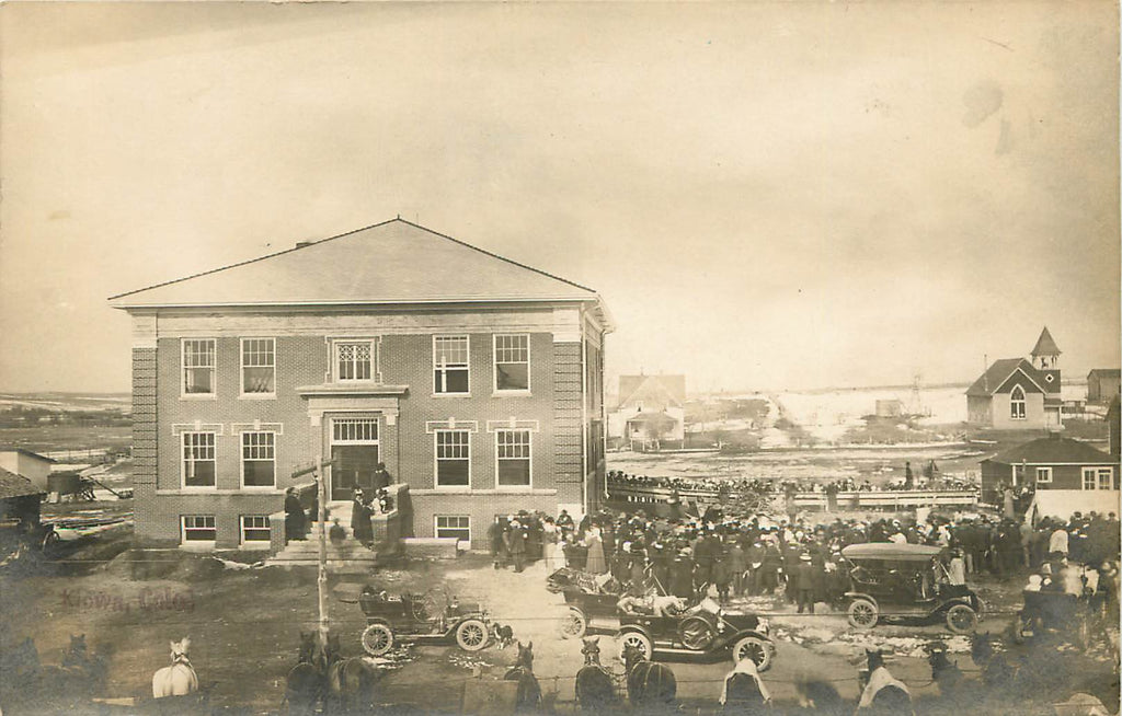 Kiowa - Colorado - Elbert County Courthouse - huge crowd - RPPC
