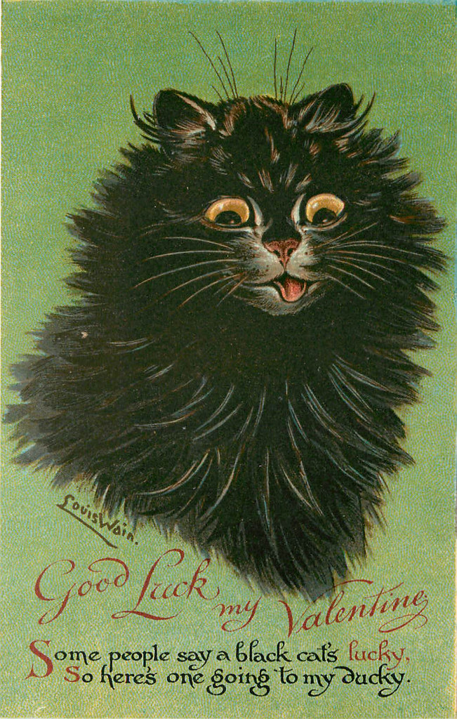 Louis Wain - Lucky Black Cat - Valentine - Nister Series 2272 - Artist Signed