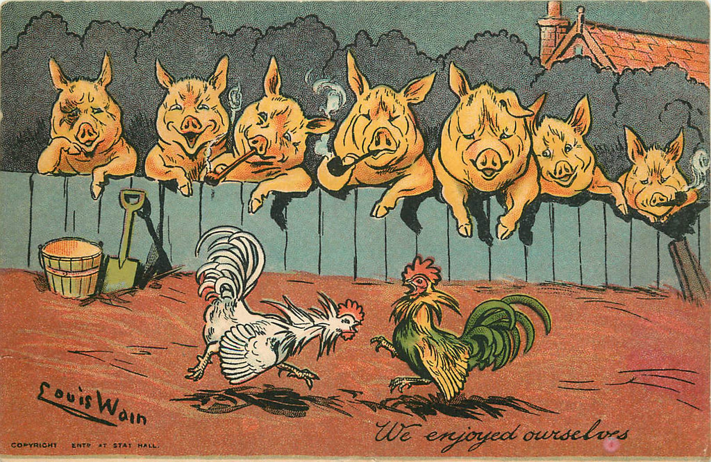 Louis Wain - Artist Signed - Pigs smoking pipes watching roosters fight 1904