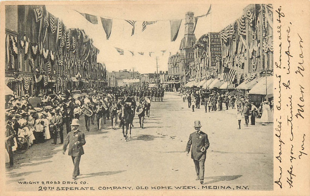 Medina - NY - 29th Separate Company - Parade - Old Home Week - Original  Postcard