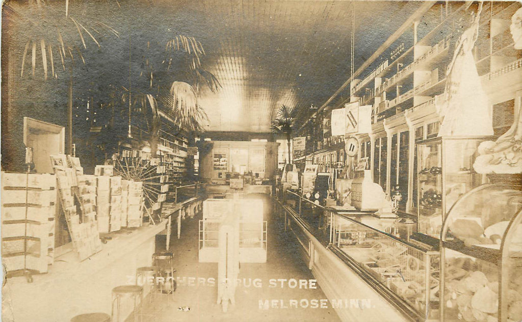 Melrose - MN - Zuerchers Drug Store - Interior - RPPC - Postcard Ferris wheel
