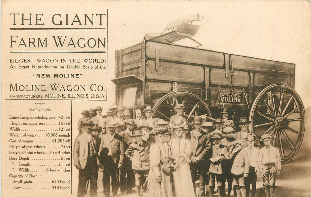 Moline Wagon Company   - Giant Farm Wagon - Moline Illinois - Advertisement Postcard