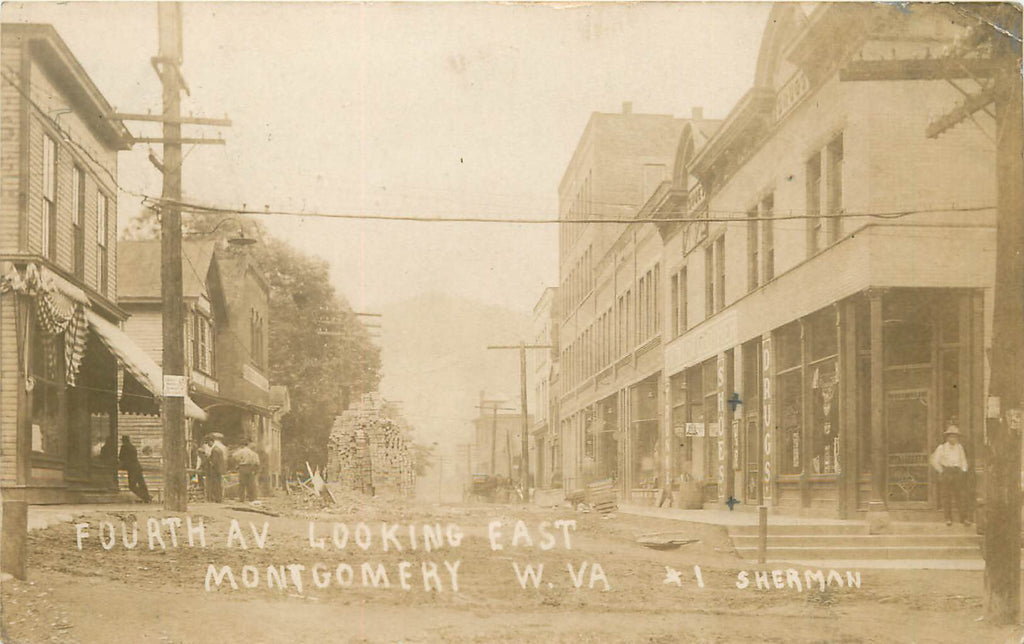 Montgomery - West Virginia - WV - Real Photograph - Fourth Ave -1908