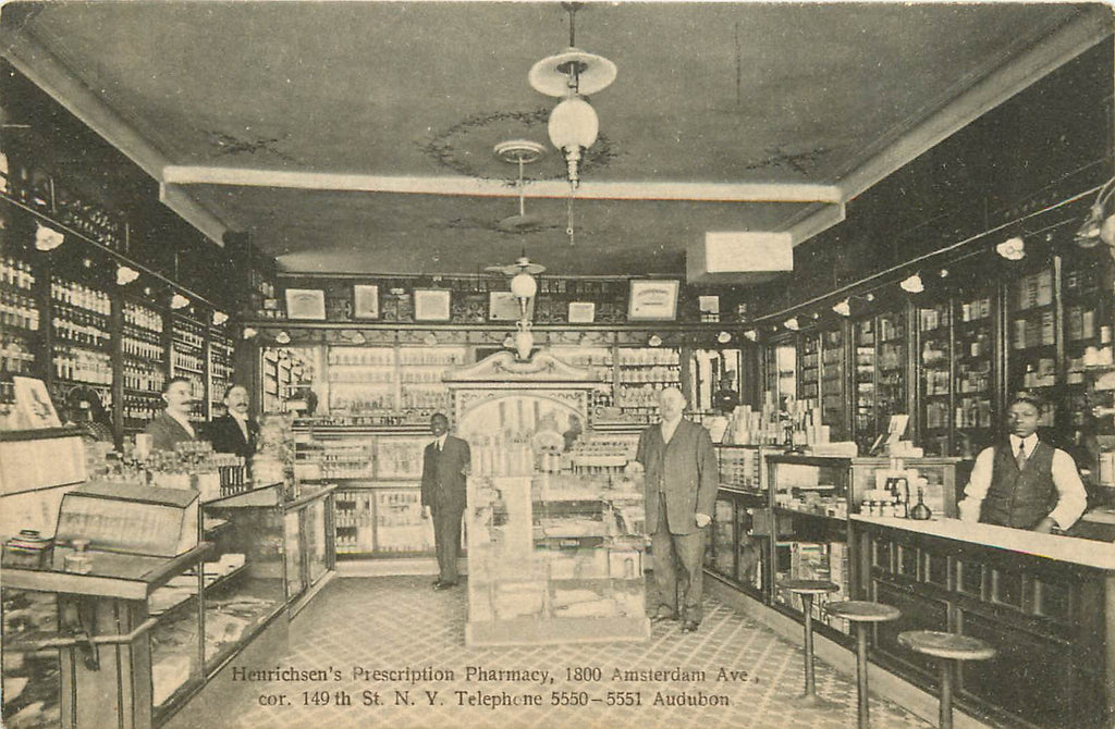 NYC - NY - Henrichsen Pharmacy - 1800 Amsterdam Ave - Interior - Black Americana - Postcard