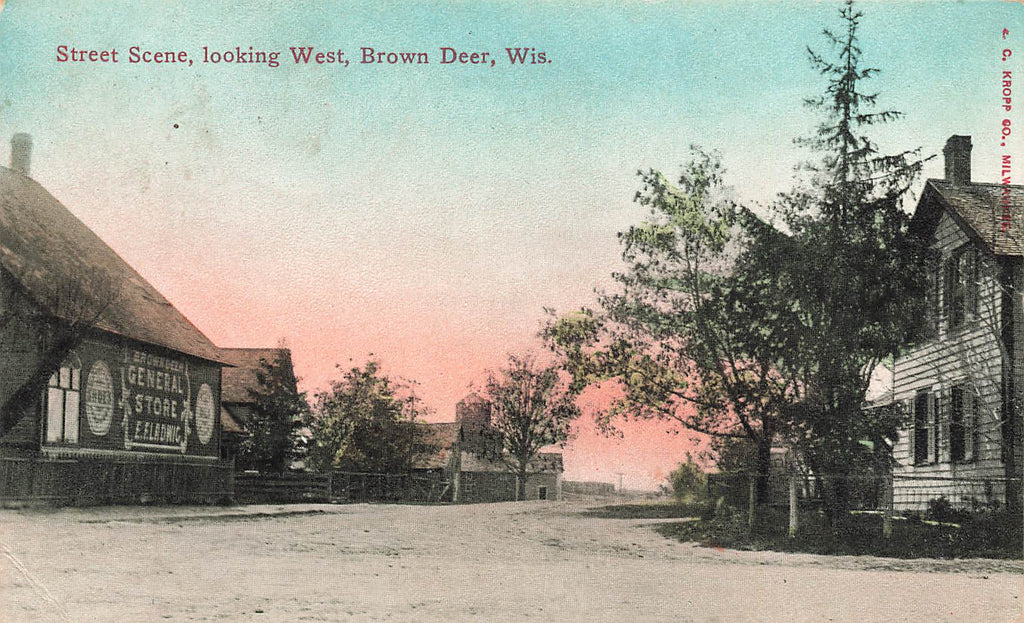 Brown Deer WI Wisconsin 1910 Postcard - General Store - RARE