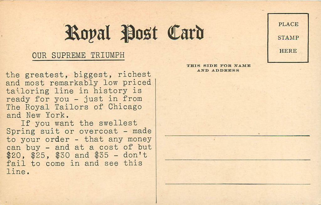 Royal Tailor Advertisement - Chicago IL - NY - Men's Clothing - Postcard