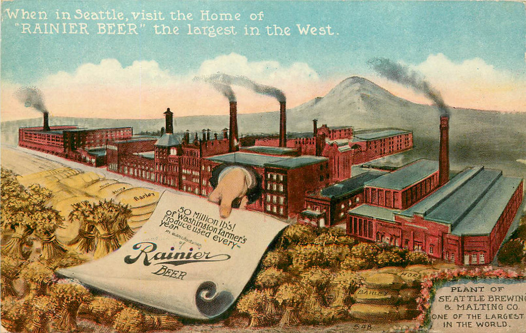 Seattle Brewing Co - RAINIER BEER - plant - adv - WA - Washington