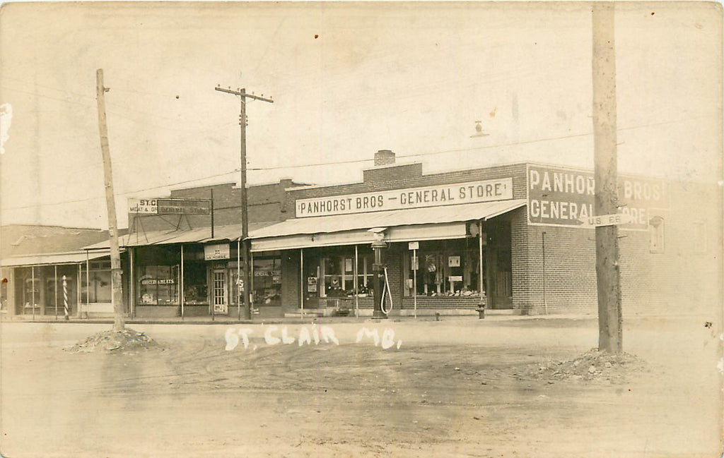 St. Clair - Missouri - Panhorst General Store - Shell Gas - Barber Pole - Rt 66 - Original Postcard