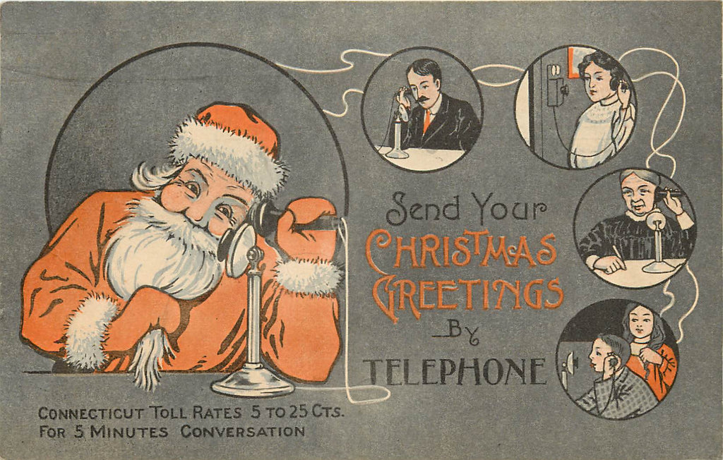 Telephone Advertisement - Christmas - Santa - Connecticut - 1911