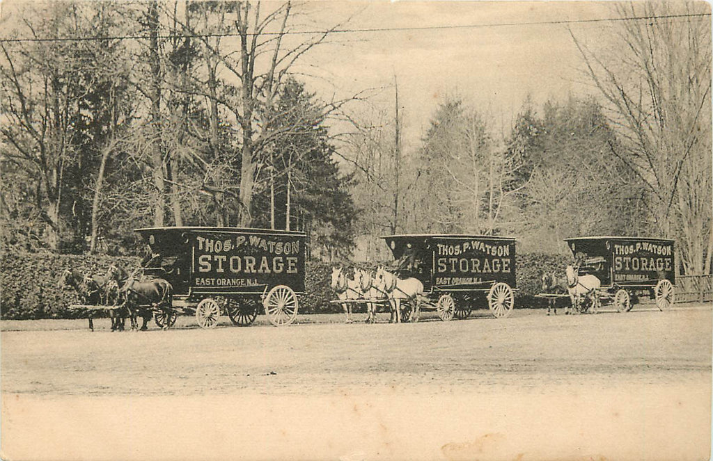 East Orange New Jersey - Watson Storage - Horse drawn wagon advertising - Original Postcard
